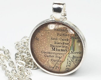 Miami Map Necklace- Vintage Map Pendant Jewelry from an Antique 1908 Atlas, Florida Map Necklace, Miami Necklace, Map Jewelry