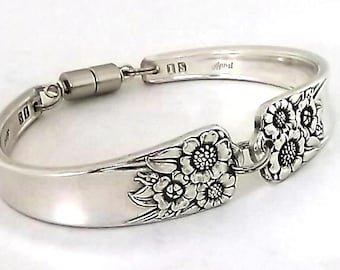 Spoon Bracelet April 1950 Sunflower Vintage Silverware Jewelry Antique Silver Upcycled Flatware Handle Braclet Kansas State Flower