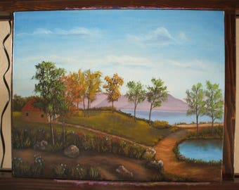 Original oil painting of a landscape