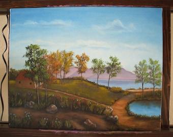 Original oil painting of a landscape