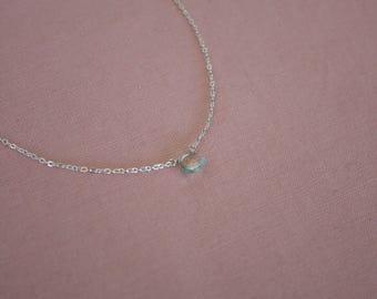 Sterling Silver Healing Gem Necklace Prasiolite Gemstone Spiritual Chain Necklace