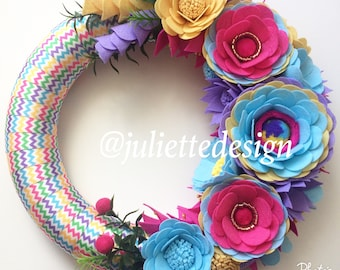Felt Wreath, Spring Wreath, Easter Wreath, Easter Decor, Felt Flowers Wreath, Flower Wreath, Colorfull Wreath, House Decoration