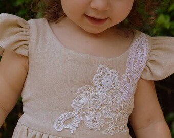 Lace Applique Cotton Muslin Toddler Dress Handmade by Papoose Clothing