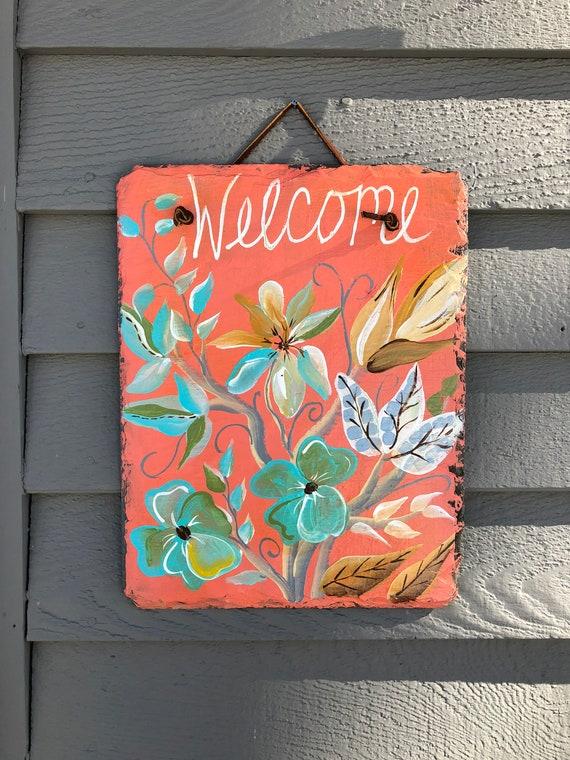 Spring welcome sign, Spring door hangers, Peach welcome sign, Spring door decoration, Spring Welcome plaque, Outdoor spring decorations,
