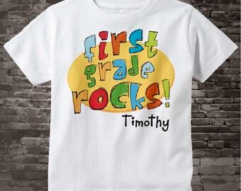 First Grade Shirt, Personalized 1st Grade Shirt, First Grade Rocks Shirt Child's Back To School Shirt 08162011a