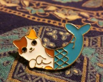 """Adorable """"Purrmaid"""" Calico Cat Mermaid Pin"""