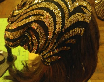 Gold Sequined skully