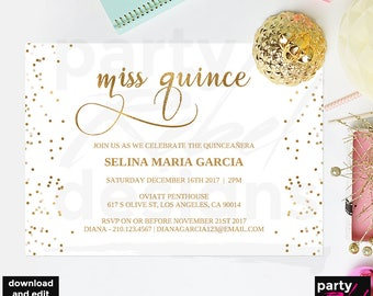 Quinceanera invitation template etsy quinceaera party invitation template miss quince printable quinceaera quince 15 years old gold glitter diy quinceaera bd26 solutioingenieria Gallery