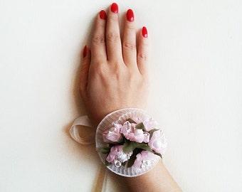 Wedding Flower Bracelet Cuff, Pink Flower Cuff, Bridesmaid Gift, Wedding Accessories