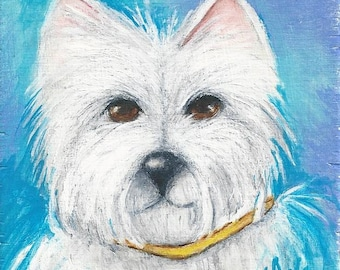"Dog Westie West Highland White Terrier original art painting on wood Mini 3"" X 3"""