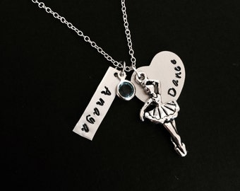 Dance Necklace Hand Stamped Personalized Child Stamped Necklace Teenager Stamped Necklace Customized Jewelry