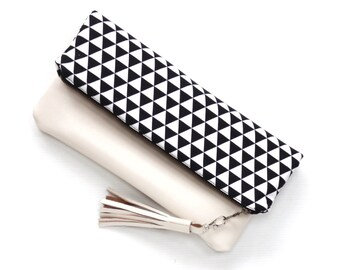 Leather Fold Over Clutch, Foldover Clutch, Black and White Triangle Print, Evening Clutch, Folded Handbag