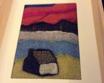 Scottish highland retreat felted art