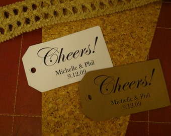 30 Custom Cheers Favor Tags