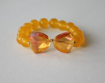 Stretch Beaded Bracelet, Yellow Jade Pearls with Crystal Bow, Natural Stones, Handmade, Fortina Designs