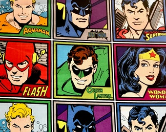 DC Super Heroes fabric, DC comics, Justice League fabric, Cartoon Heroes 100% cotton fabric for Quilting, crafting and all sewing projects.