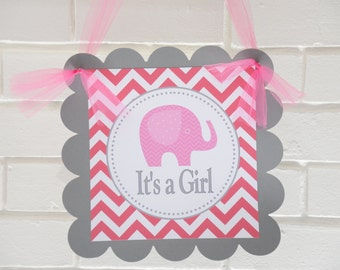 It's a Girl Elephant door sign, elephant party, it's a girl, Elephant baby shower, elephant welcome sign