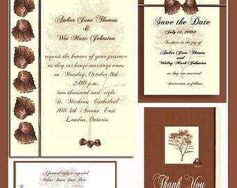 Copper Leaf Design Wedding  Invitation Package Editable Download