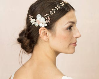 Milton & Enys Garland - Blush freshwater pearl bridal hairvine with mother of pearl flower
