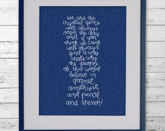 "Steven Universe - ""We Are the Crystal Gems"" - Digital Download Print - Steven Universe Lyrics - Steven Universe Print - Nerd Print - 8x10"""