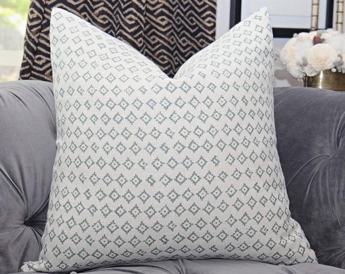 Peter Dunham Kumbh in Ocean Pillow Cover - Modern Linen Green & Ivory Pillow Cover - Motif Pillows - Global home decor