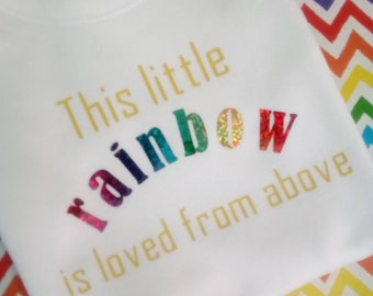 Rainbow Baby Vest, This Little Rainbow, Newborn Baby Gift, Loved From Above, Rainbow Baby Clothes, Baby Shower Gift, Rainbow Announcemen