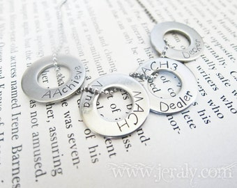 Four Washer Custom Stamped Mommy Mother Father Daddy Gift Necklace, Stainless Steel with Kid Names