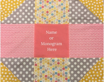 Stroller Quilt Car Seat Blanket Gift for New Baby Shower Present for Her Personalized with Name Or Monogram Nine Square Coral Gray Yellow
