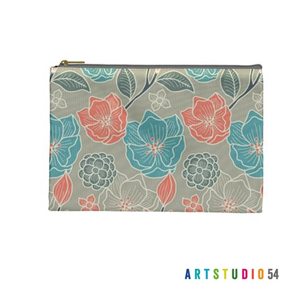 """Flower Peach Teal Grey White Pattern on a Pouch, Make Up, Cosmetic Case, Travel Bag Pencil - 9""""X6"""" -  Large -  Made by artstudio54"""