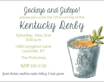 Derby Invitation: Mint Julep + Monogram