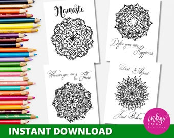 Mandala Coloring Pages | Inspirational Coloring Sheets | Adult Coloring Pages | Coloring for Adults | Inspirational Prints INSTANT DOWNLOAD