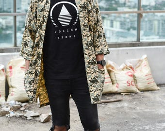 Men's Long Sand Military Japan Kimono Cardigan, Man Noragi Coat, Oversized Street Haori Jacket, Unisex Streetwear, Loose Style Yukata