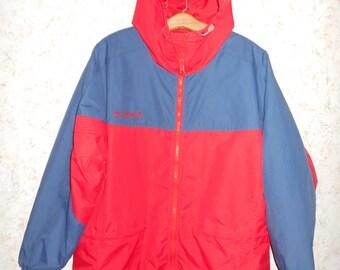Vintage Columbia Color Block Hooded Nylon Windbreaker Jacket Coat Red Blue Zipper Down Retro Oversized Womens Medium