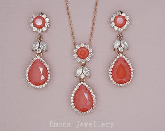 Coral Jewelry Set Coral Wedding Jewelry Set Red Crystal Necklace Chandelier Earrings Red Bridesmaid Jewelry Set Rose Gold or Silver