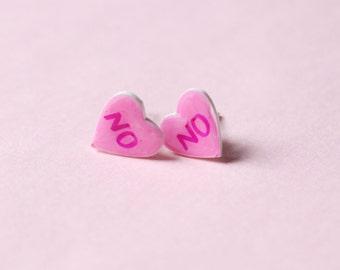 NO Heart Earrings