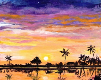 Kauai Salt Pond Beach Park, Original Kauai Paintings, Hawaiian Beach Paintings, Sunset Art Decor, Kauai Hawaii Art, Salt Pond, Kauai Beaches