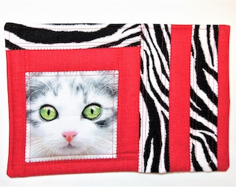 Kitty Snack Mat, Quilted Mug Rug, Quilted Snack Mat, Place Mat Quilted, Coaster Quilted, Quilted Coffee Mat, Wall Hanging, Sewnsewsister