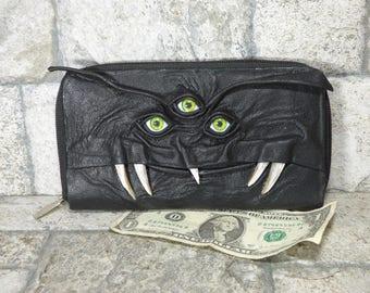 Ladies Wallet Zippered Minimalist Black Leather Clutch Credit Card Holder Monster  225