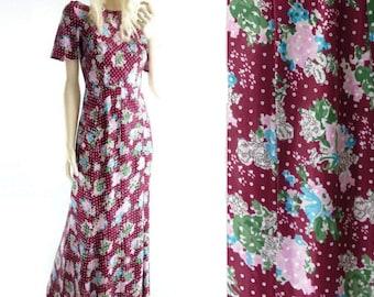 70s Maxi Dress Boho Maxi Dress 70s Floral Dress Floral Maxi Dress Burgundy Maxi Dress Vintage Summer Dress xs