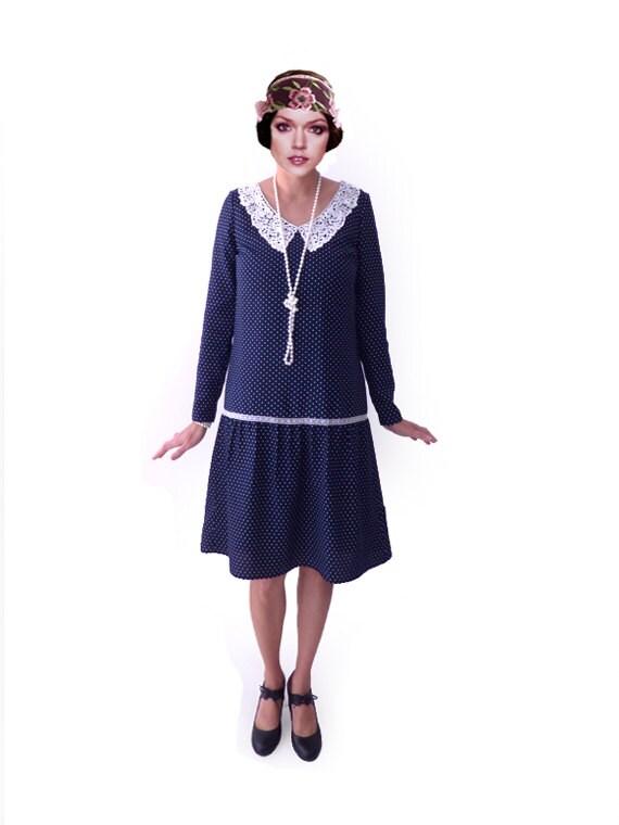 1920s Day Dresses, Tea Dresses, Mature Dresses with Sleeves Retro Flapper Dress Retro Polka Dot Dress  $91.00 AT vintagedancer.com