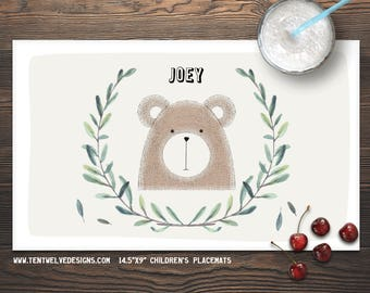 BEAR Personalized Placemat for Kids - Children's Placemat, Personalized Kid's Gift, Fast Shipping - leaves, woodland animals