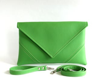 Bridesmaid Clutch Purse Mothers Day Gift For Mum Green Wedding Clutch Bag Bridal Clutch Handbag Vegan Leather Handbag Vegan Bag Green Clutch