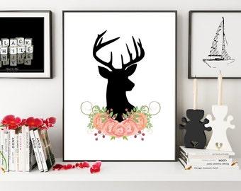 Deer Nursery, Deer Girl Nursery, Deer Print, Deer Wall Art, Deer Silhouette, Deer Decor, Deer Wall Decor, Deer Art, Wall Art, Wall Prints
