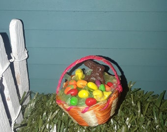 Easter Basket with chocolate bunny colored eggs and a peep Dollhouse size 1:12