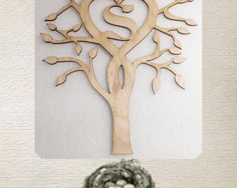 Heart Tree With Your Inital - Laser Cut Wood