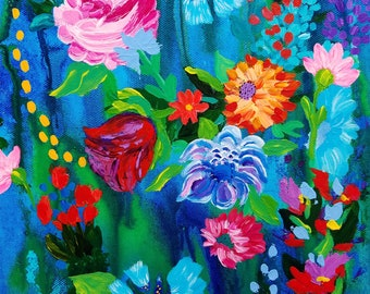 floral painting, abstract floral art, vibrant colors, ink and acrylic