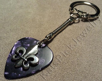 Fleur de Lis on Purple Pearl Guitar Pick w/ Snake Chain Keyring/Keychain