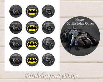 Batman Cupcake Toppers, Batman Birthday Circles, Personalized, Digital File, 1