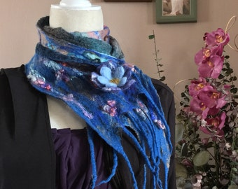 Playful Abstract Nuno felted scarf