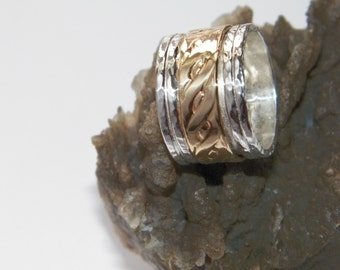 Hammered 2 band Sterling Silver and Brass Spinner Ring- Stamped.925 Handcrafted